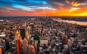 Picture City, Clouds, Sky, Sunset, New York, Street, Skyline, Architecture, Homes