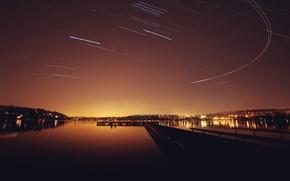 Picture stars, landscape, night, lights, pierce, pond, tracks