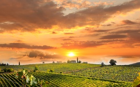 Picture the sky, the sun, clouds, trees, sunset, field, Italy, house, plantation, Tuscany