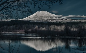 Picture reflection, night, lake, mountain, nature, Mountain, night, winter, lake