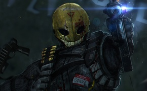 Picture smile, weapons, blood, man, mask, art, soldiers, machine, shooting, cartridges, smile, wound, steve