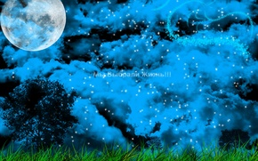 Picture Tree, Grass, The moon, Night