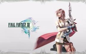 Picture girl, sword, Final Fantasy XIII, Lightning, FF 13