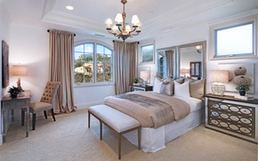 Picture design, Villa, bed, interior, mirror, chandelier, wardrobe, bedroom, luxury, bedroom
