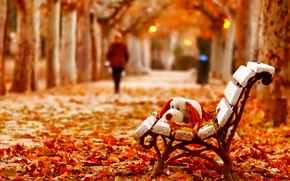 Picture bench, foliage, toy, Autumn, silhouette