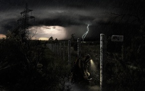 Picture the storm, night, rain, soldiers, Chernobyl, stalker, area