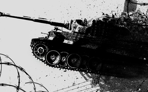 Picture style, Wallpaper, tank, Tiger, tanks, WOT, WarThunder, black-and-white.