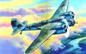Picture war, art, airplane, painting, aviation, ww2, AVIA B 71