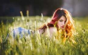 Picture field, grass, look, girl, sweetheart, meadow, red, girl, brown hair, beautiful, model, Delaiah Gonzalez