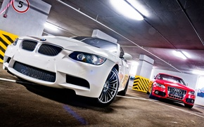 Picture bmw, BMW, garage, white, e92, audi s5