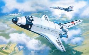 Picture aviation, figure, ship, prototype, space, Buran, Soviet, MiG-25пу, BTS-02