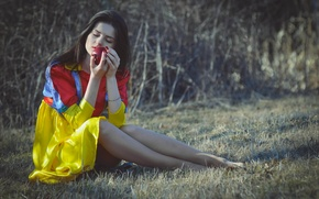 Picture forest, girl, Apple, snow white