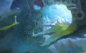 Picture dream, mountains, the city, fantasy