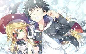 Picture girl, snow, joy, hat, anime, art, headband, guy, to aru majutsu no index, yuuri, asterisk, …