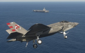 Wallpaper sea, bomber, Lightning II, the carrier, F-35C, fighter