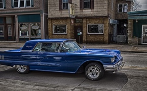 Picture blue, HDR, Ford, Ford, 1959, Thunderbird, Tendered