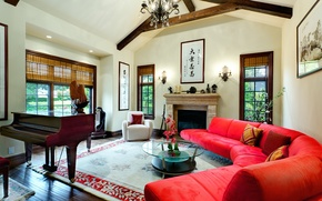 Picture design, style, room, interior, piano, fireplace
