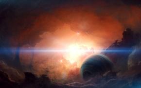 Picture the sun, nebula, planet, satellite, far
