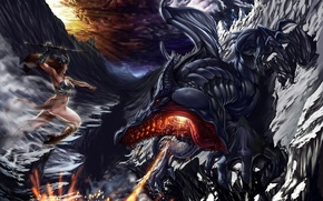 Picture girl, death, dragon, the evening, battle