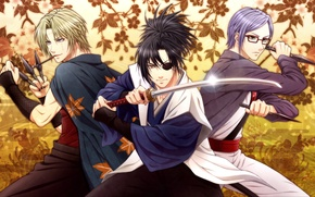 Picture leaves, weapons, sword, guys, daggers, Gintama, Yagyuu Kyuubei, Sarutobi Ayame, Tsukuyo