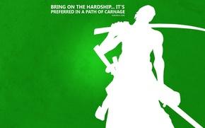 Picture green, Japan, sword, game, One Piece, Hunter, pirate, anime, katana, sun, man, asian, manga, minimalism, …