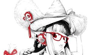 Picture language, girl, hat, anime, headphones, art, glasses, braids, monochrome, jaco