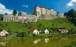 Picture the city, river, castle, wall, home, Czech Republic, Cal Sternberg