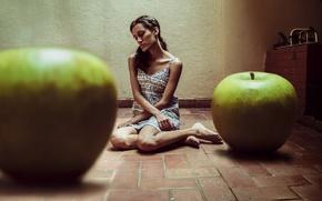 Wallpaper apples, girl, background