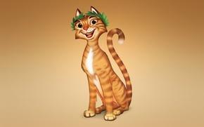 Picture cat, cat, orange, smile, red, light background