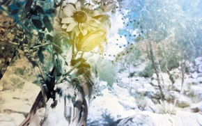 Wallpaper treatment, branches, flower