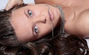 Picture look, hair, Beads, grey eyes