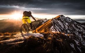 Picture snow, mountains, bike, bike, the roads, extreme, adrenaline, mountain, Mountain Bike