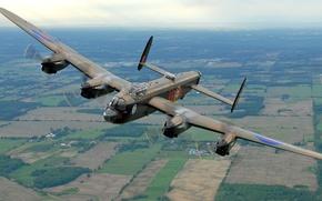 Picture flight, retro, the plane, landscape, bomber, Avro Lancaster
