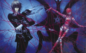 Picture witchcraft, pentagram, art, red thread, the voodoo doll, Trinity Blood, black magic, Trinity blood, Dietrich …