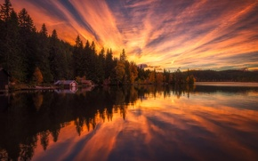 Picture the sky, water, trees, landscape, sunset, nature, reflection, houses