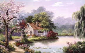 Picture house, river, picture, painting, swans, painting, Sung Kim