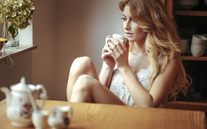 Picture girl, face, hair, coffee, beauty