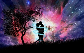 Wallpaper grass, abstraction, tree, romance, figure, kiss, the evening, pair