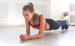 Picture woman, workout, fitness, endurance, stretching