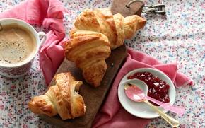 Picture coffee, food, Breakfast, Cup, cup, sweet, coffee, growing, breakfast, croissant