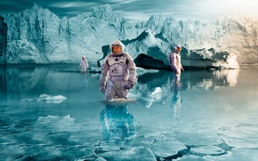 Picture art, the astronauts, based on the movie, Interstellar
