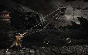 Picture battle, arena, Scorpion, Sub-Zero, Mortal Kombat X, harpoons