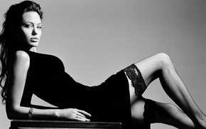 Picture Angelina Jolie, Angelina Jolie, Dress, Stockings, Mesh, Black, Black and white, Stockings, Photoshoot