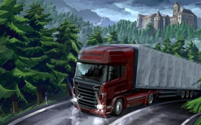 Picture road, nature, markup, art, van, car, painting, forest, trailer, tractor, cargo, the truck, castle., trucker, ...