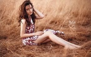 Picture field, grass, girl, tenderness, portrait, dress, brown hair, legs, beautiful, cute, manicure, Diana, sensual, Dmitrij …