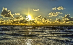 Picture sea, the sky, clouds, sunset