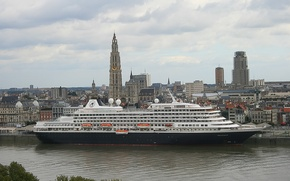 Picture the city, Belgium, liner, Belgium, cruise, cruise liner, Antwerp, Antwerp, the river Scheldt, Scheldt River