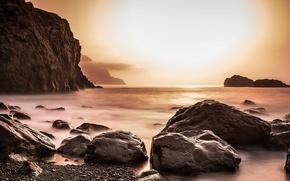 Picture sea, night, rocks, shore