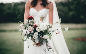 Picture girl, flowers, bouquet, the bride