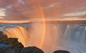 Picture waterfall, rainbow, couples